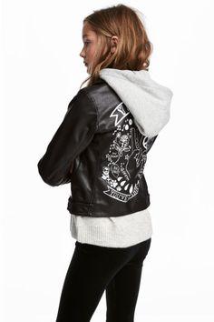 Kapüşonlu Motosikletçi Ceketi - Siyah - Kids | H&M TR
