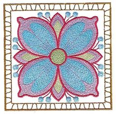 Flowers Machine Embroidered Quilt Blocks