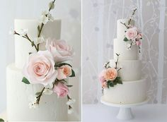 white textured woodgrain wedding cake by Zoe Clark