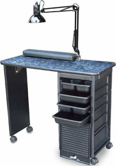 """Dina Meri C119-DLX- KD Cha Cha Manicure Nail Table Black Marble top by Dina Meri. $199.97. Made in USA! By Dina Meri leader in Salon equipment manufacturing  - FEATURES:CABINET IN HIGHLY MODIFIED HIGH IMPACT ABS CONSTRUCTION MAKES OUR CARTS 3-5 TIMES STRONGER & MUCH MORE IMPACT RESISTANT THAN OUR COMPETITION 4 assorted trays, """"Flip N Fold lockable door can be left open to access trays or folded away, Tween Hooded casters for easy mobility, Swing arm Lamp, Padded armrest. TOP FEA..."""