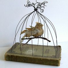 Bird in Bird Cage Vintage Book Mixed Media