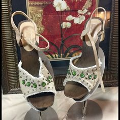 "Host Pic alluck1210  Naughty Monkey Sandals.Sz 9 These are awesome sandals.  The rhinestones look great.  Check out the pics!  Heel is 4"" naughty monkey Shoes Sandals"
