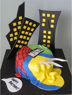 Marvel Abstract Cake: Wolverine, Hulk, & Spiderman
