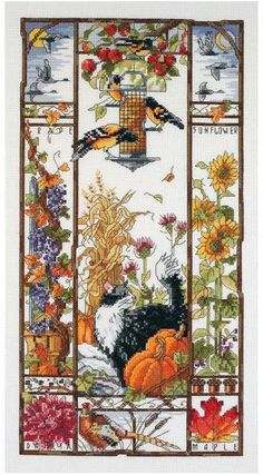 Janlynn Autumn Cat Sampler - Cross Stitch Kit. Sample the best with our counted cross stitch Autumn Cat Sampler.  From Canadian geese flying around and birds fe