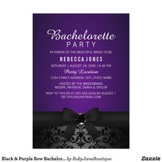 Black & Purple Bow Bachelorette Party Invite