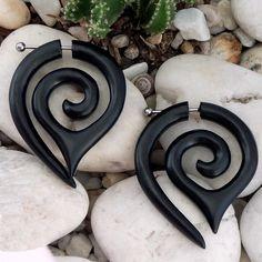 Fake Gauges -- 1 Pair Organic Wood Earrings - Wooden Traps Spirals Curls - Medium Sized - (By Fake Gauge Organics). $15.00, via Etsy.