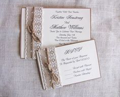 Handmade Rustic Lace and Burlap Wedding Invitation Suite.n  Kelsey, this is similar to how Sherry's invites were but a fold in the back held the rsvp postcard, an accomadation card and directions card so everything was all together. She had two ribbons similar to how the burlap and lace are on the side and the main invitation on front. They were so cute and so easy to make!!