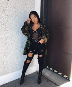 "b771fd4d7a8 NiNi Ng. 🦋🌴 on Instagram  ""Camojacket  catsgotthecream    Bodysuit   fashionnova CODE"