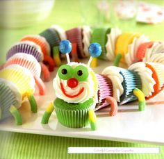 Colorful Caterpillar Cupcakes