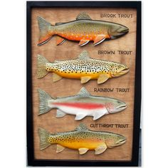 Brown, Brook, Rainbow, Cutthroat trout wood carvings, trout art, fishing gift, Christmas gift, fly fishing, fish decor, fish wall art, trout
