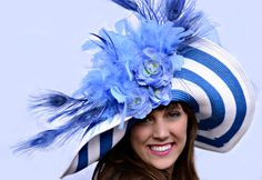 KY DERBY no were else in the WORLD could u get away with wearing a hat like this!:) I bet she made a lot of new friends! Hats from http://findanswerhere.com/womensfashion
