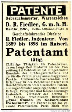 Original-Werbung/ Anzeige 1910 - PATENTE / FIEDLER - BERLIN - ca. 45 x 75 mm