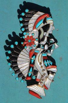 Vintage Southwestern Sterling Silver Inlay Turquoise Kachina Dancer Pendant Pin | eBay