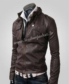 Bouton de poche veste en cuir brun foncé