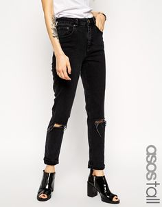 ASOS TALL Farleigh High Waist Slim Mom Jeans in Washed Black with Busted Knees