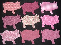 9 Easy to Use Pink Pig Fabric Appliques
