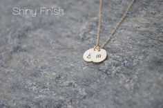 3/8 inch Gold Double Charm Necklace on 18 inch chain by madebymaryshop on Etsy // with my kids initials