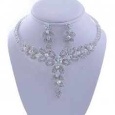 Do we see a theme here?  http://www.fashionjewelry21.com/necklaces/rhinestone-necklaces/rhinestone-u0047-cmv-choker-floral-drop-necklace-earring-set-silver-ab.html
