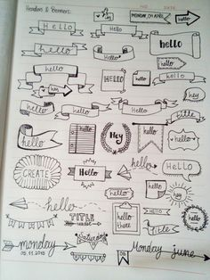 Headers & banners for bullet journaling. #with_hand_only #bujo #bullet_journal #lovetocreate | @drawingsnarts | Create every moment. ~  Vasiliki Kay Bullet Journal Notes, Bullet Journal Headings, Bullet Journal Banner, Journal Fonts, Bullet Journal 2019, My Journal, Journal Pages, Journaling, Handlettering