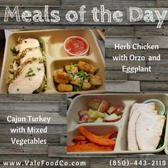 Herb Chicken with Orzo and Eggplant.  Cajun Turkey with Mixed Vegetables! √#healthyfood #vale #valemeals #valefoodco #tallahassee #seminoles #eatclean #mealplans #tcc #famu #nutrition #healthyliving #catering #FSU #fsufootball #health #weightloss #vegetarian #maintain #IHeartTally #Tally