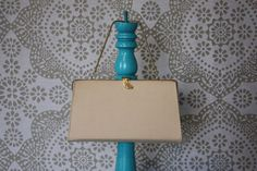 Vintage 1950's Taupe Clutch Purse with Pearl Accent by pursuingandie, $26.95