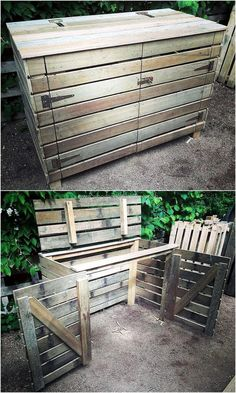 Recycled Pallets Ideas pallets made Garbage Storage Project - Old wood pallets are not of any use, it is believed by many people out there; but it is not true. They are usable after. Trash Can Storage Outdoor, Garbage Can Storage, Garbage Shed, Outdoor Trash Cans, Diy Pallet Projects, Pallet Ideas, Wood Projects, Bin Shed, Bin Store