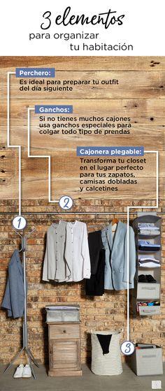 Inspírate para que con pocos elementos puedas organizar grandes espacios. Coat, Jackets, Fashion, Home Decorations, Furniture, Drawer Unit, Coat Racks, Interiors, Down Jackets