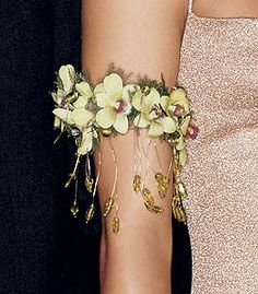 Floral upper arm band armlet with yellow orchids from La Belle Florist. Prom Flowers, Bridal Flowers, Beaded Flowers, Flower Corsage, Wrist Corsage, Corona Floral, Corsage Wedding, Floral Necklace, Flower Delivery