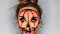 Creepy pumpkin makeup look Halloween Pumpkin Makeup, Halloween Makeup For Kids, Amazing Halloween Makeup, Halloween Makeup Looks, Halloween Kostüm, Halloween Pumpkins, Amazing Makeup, Creepy Pumpkin, Artistic Make Up