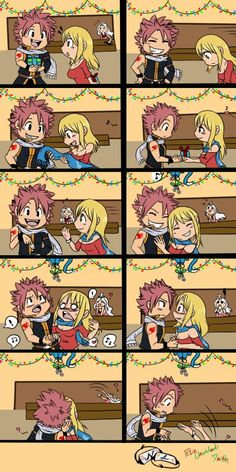Aww Natsu and Lucy ❤ Haha Oh my Mavis I love Mirajane in the back