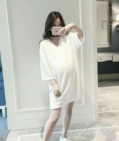68fa8c235bc Summer long loose dress fold fashion pregnant woman tops – Pregnancy World