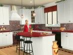Red granite kitchen countertops colors with white cabinets