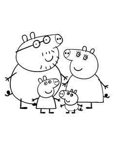 Peppa's family coloring page