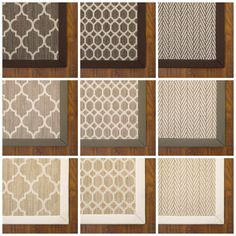 Taza, Tracery, Only Natural are all available as standard area rugs: 4x6, 5x8, 6x9, 8x11, 9x12.  The rugs are shown above with cotton trim.  Customs are available too!! Tuftex Carpets of California