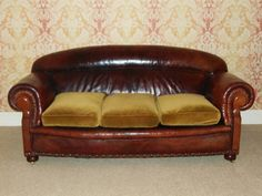 Large Good Quality Early 20th Century Leather Sofa