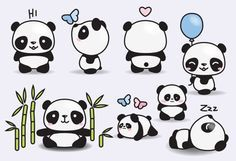 Premium Vector Clipart - Kawaii Pandas - Cute Pandas Clipart Set - High Quality…