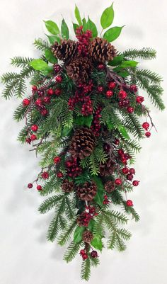 Christmas Swag, Holiday Swag, Christmas Wreath, Holiday Wreath, Crabapples, Berry Swag, Winter Swag, Burgundy Swag, Christmas Door Decor by CrookedTreeCreation on Etsy https://www.etsy.com/listing/252087803/christmas-swag-holiday-swag-christmas