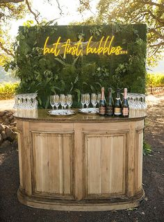 Always our motto! A Champagne Bar is Perfect for a Wedding or other Special Eve. Always our motto! A Champagne Bar is Perfect for a Wedding or other Special Event! Wedding Goals, Our Wedding, Dream Wedding, Wedding Bar Signs, Rustic Wedding Bar, Cocktail Wedding Reception, Outdoor Wedding Reception, Wedding Parties, Event Planning