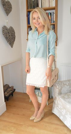 Silk boyfriend shirt and Lace skirt