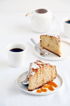 spiced pear cake with toffee sauce.