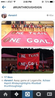 One team one goal Football Banner, Football Signs, Football Cheer, Football Posters, Volleyball Players, School Spirit Posters, Cheer Posters, Cheer Camp, Cheer Coaches