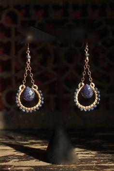 s u e ñ o blue sapphire 14k gold fill earrings by MadrinaSofia