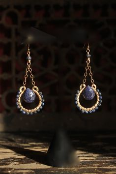s u e ñ o blue sapphire 14k gold fill earrings by MadrinaSofia