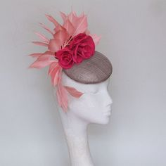 a8ade17a Dark Grey and Pink Fascinator Kentucky Derby Hat Royal Ascot Race Day Hats,  Mother Of