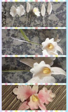 Steps to making beautiful gumpaste orchids ~ cake decorating www.facebook.com/sprinkled.desserts