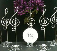 JUMBO Card Holder  Music Note Silver 10 INCH Treble Clef  Card Holder Table Centerpiece for  Music Theme Events Musical Musician. $10.00, via Etsy.