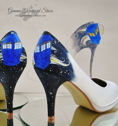 So.......... how do you customise a pair of shoes where you still want them classy and elegant but you want them to reflect your personality, your theme and yes, your fandom life following a particularly awesome British institution i.e. Doctor Who?