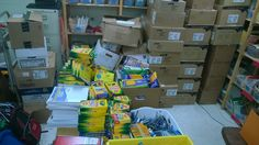 Repinned - #FoPRR - School supply donations for 2014/2015 school year at Wounded Knee District School.  Every pack of paper and box of crayons and pencils you see here was sent by one person trying to make a difference.  You can too!  www.friendsofpineridgereservation.org