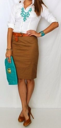 Simple decent work outfits with pencil skirt and white shirt. love the pencil skirt and accent color