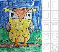 How to draw an owl. From Art Projects for Kids.